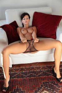 Sexy brunette Lauren Crist spreading legs