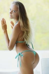 Hot babe Clover light blue bikini