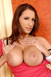 Busty brunette Jane's huge natural tits