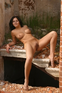 Tempting babe Lena teasing outdoor