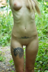 Young tattooed college girl Yustia nude
