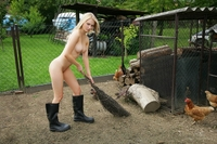 Countryside farmer's cute young lover