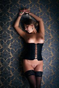 Handcuffed Blonde Stunner Angelica Masturbates In Sexy Corset