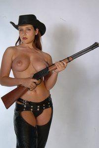 Erica with guns