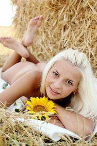 Cute blonde Vika naked in the filed