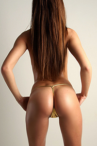 Monica In Gold Thong