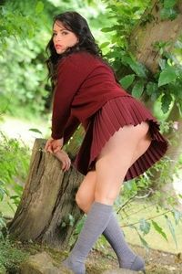 Brunette Girl Naked In The Forest