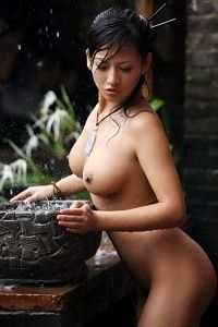 Judy the hot chinese geisha in the rain
