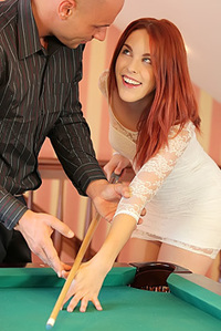 Redhead Pounded On Pool Table