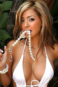 Hot Sexy Babe In White Bikini